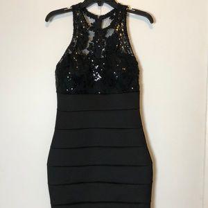 Little Black Bandage & Lace Dress